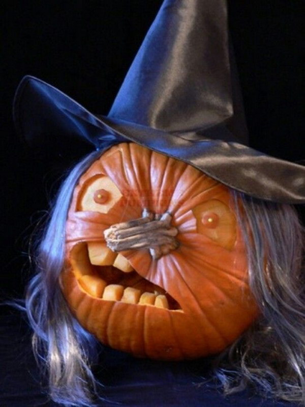 Scary Witch Carved Pumpkin.
