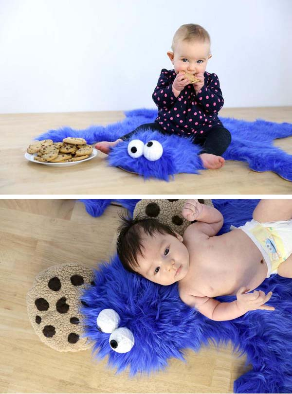 Easy DIY Cookie Monster Fur Rug With Cookie Pillows. All you need is fake fur and other stuff easy to find at home.