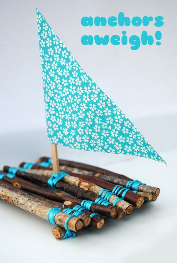 Cute Twig Boats. Kids made boat from twigs and yarn  fun to make and then to play with!