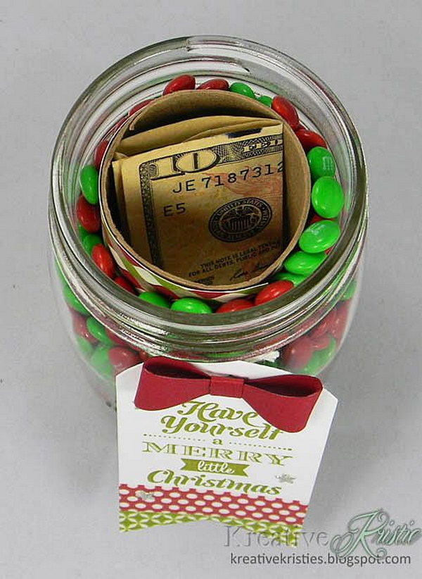 Hidden Money Gift in a Manson Jar Filled with Candy.