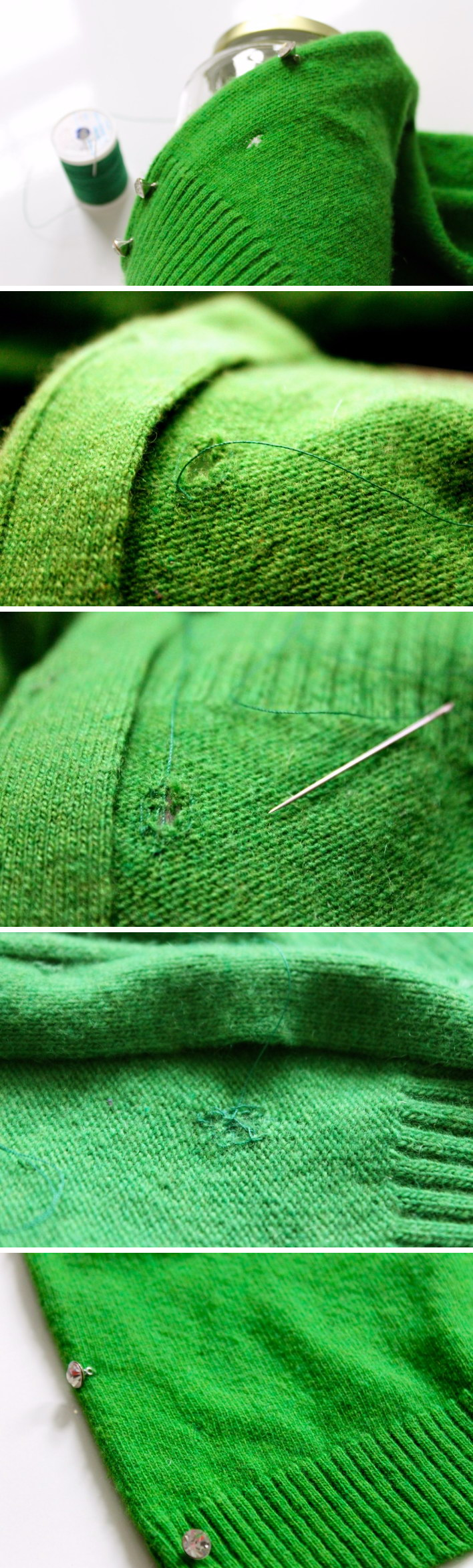 Fix a Hole in a Woolen Sweater with Thread Using Vertical Stitches.