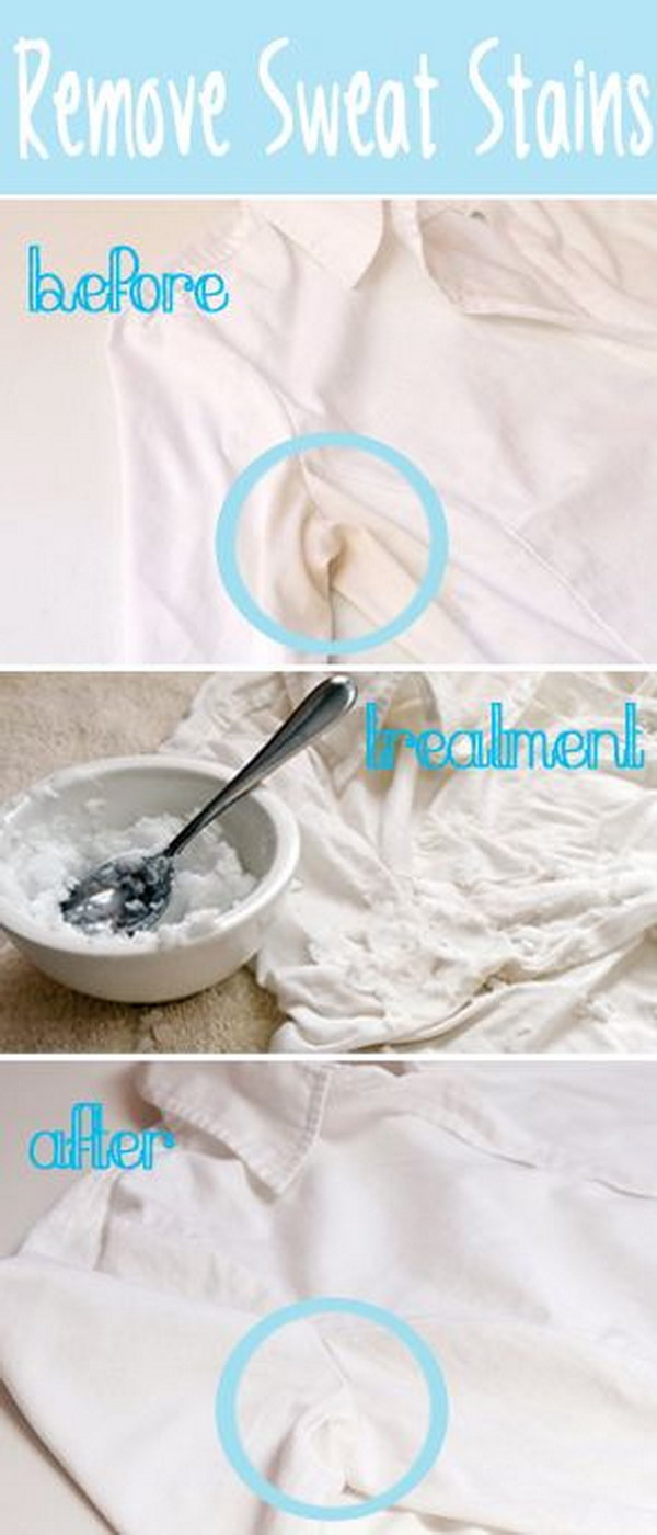 Super helpful clothing hacks every woman should know for Removing sweat stains from white shirts