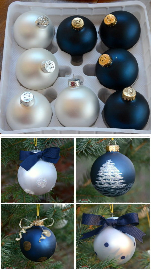 Painted Ornaments from Plain Bulbs.