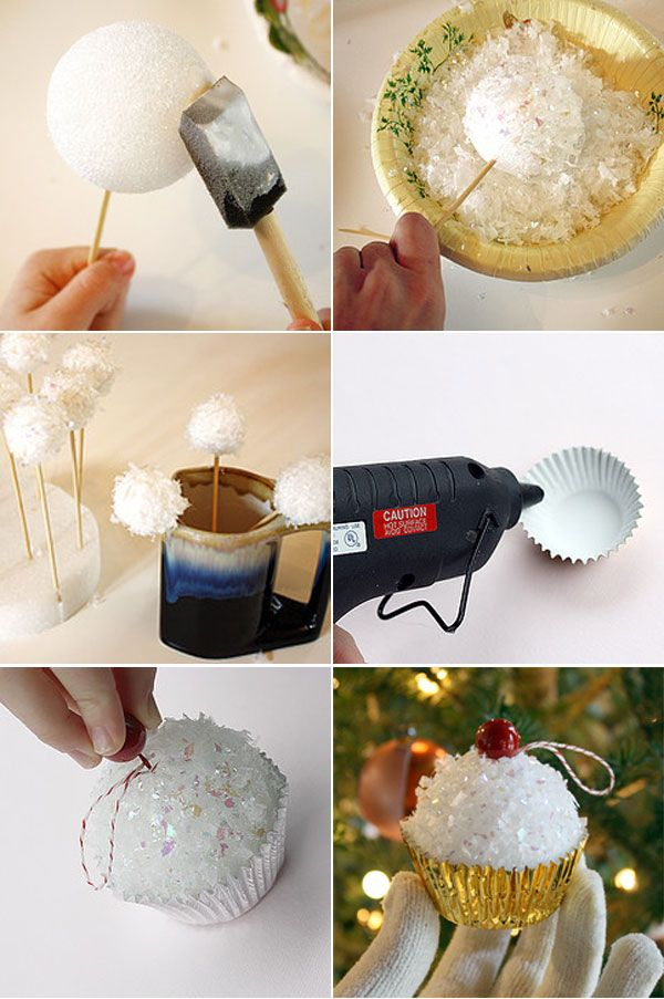 DIY Cupcake Ornaments.
