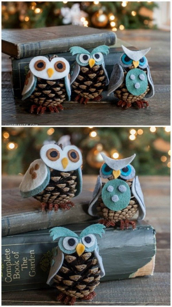 Felt & Pinecone Owl Ornaments.