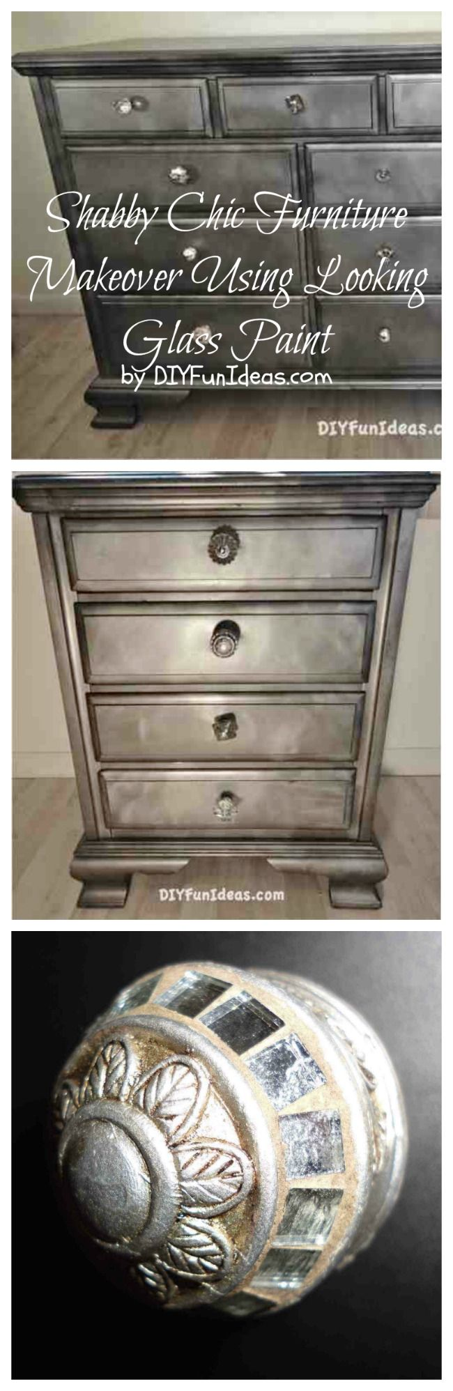 Dresser Makeover Using Krylon Looking Glass Paint
