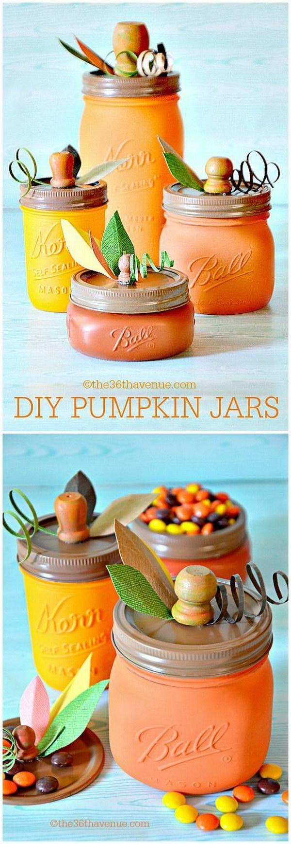 DIY Pumpkin Mason Jars.
