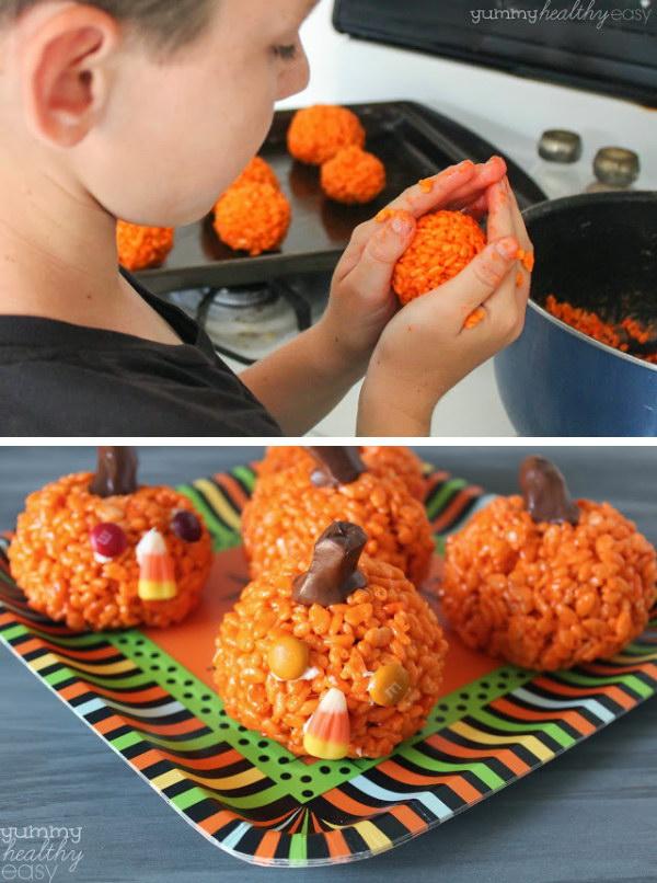 Easy Pumpkin Krispies Treats.