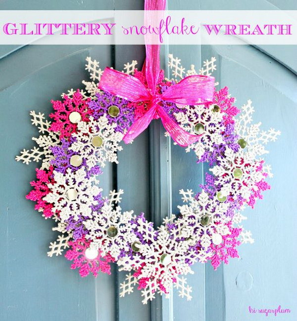 DIY Glittery Snowflake Wreath