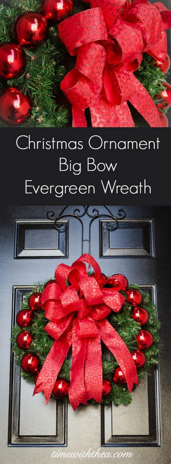 DIY Christmas Ornament Big Bow Evergreen Wreath