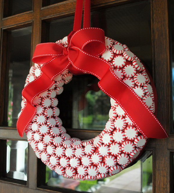 DIY Peppermint Candy Wreath