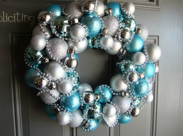 DIY Blue and Silver Christmas  Ornament  Wreath