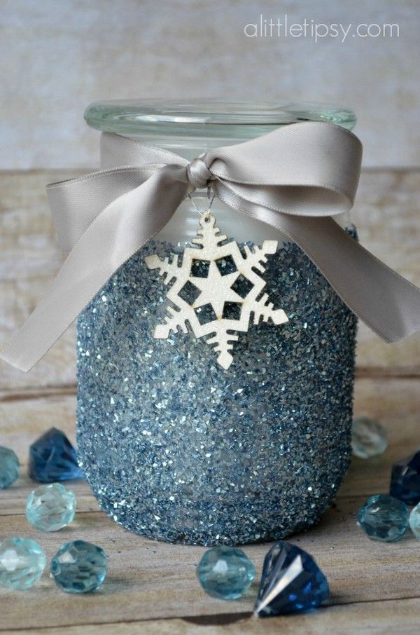 DIY Glitter Candle with a Winter Spin.