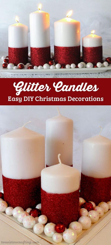 DIY Festive Glitter Candles.