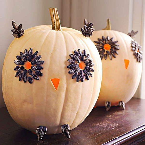 Easy Carved Owl Pumpkins for Halloween .