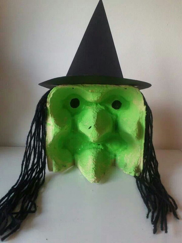 DIY Spooky Egg Carton Witch.