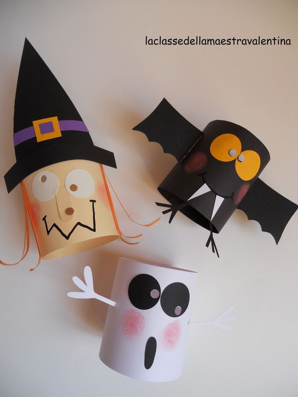 Toilet Paper Roll Bats and Witch.