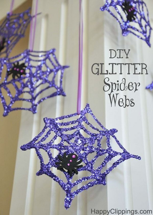 DIY Glitter Spider Webs with Glue and Glitter.