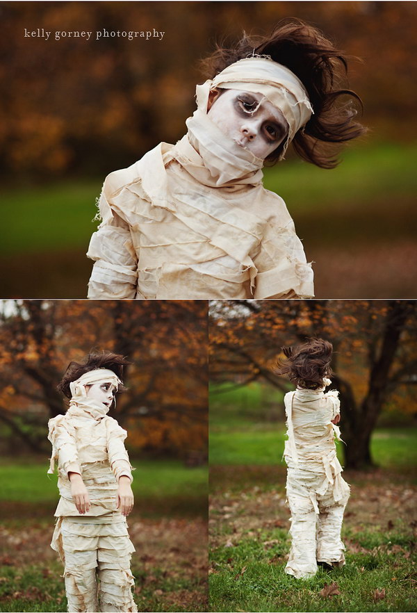 Cool Mummy Cotume Made with a White Sheet and Tea Dying
