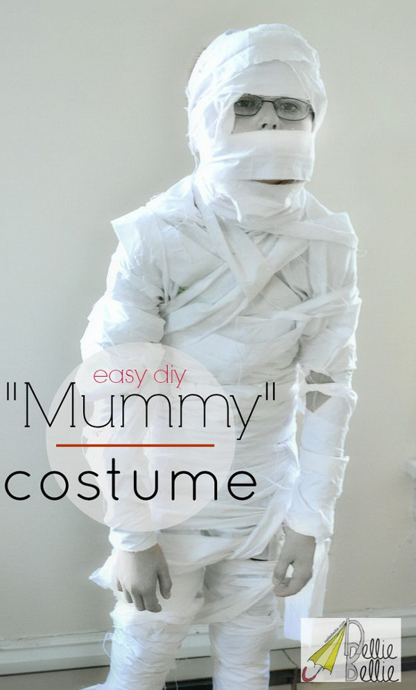 Cool DIY Mummy Costume Made out of White Bed Sheet