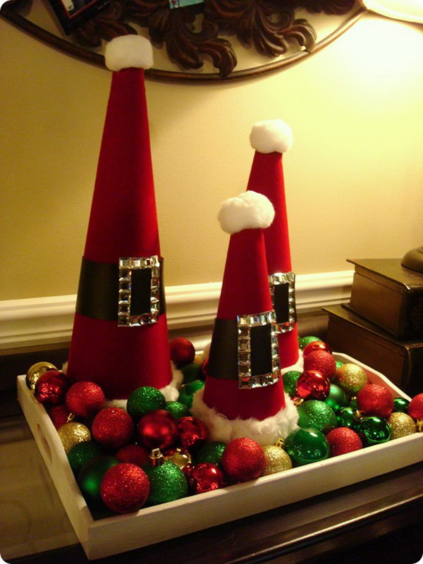 DIY Christmas Trees out of Santa Cones Tutorial