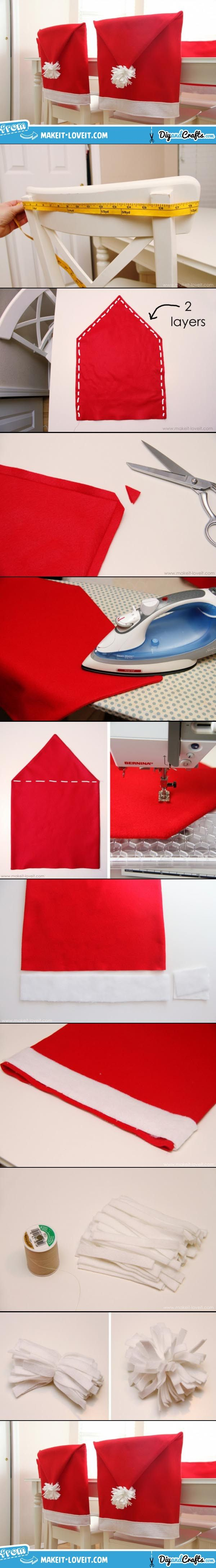 DIY Santa Hat Chair Covers