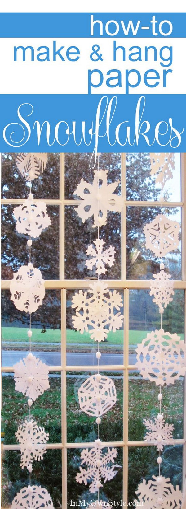 DIY No Sew Hanging Paper Snowflake Window Treatment