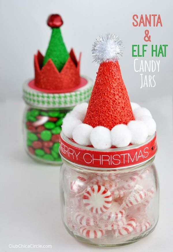 Santa and Elf Hat Candy Jars.