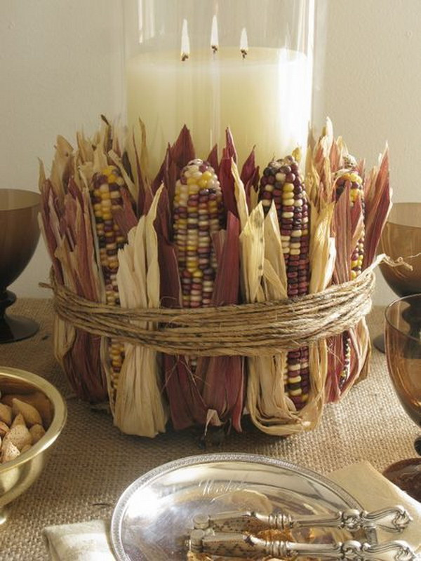 Pottery Barn Inspired Dried Corn Centerpiece