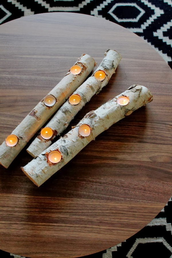 DIY Birch Log Candle