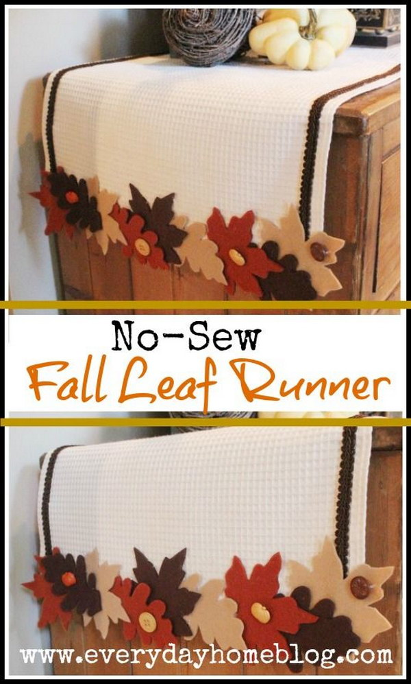No Sew Harvest Leaf Runner