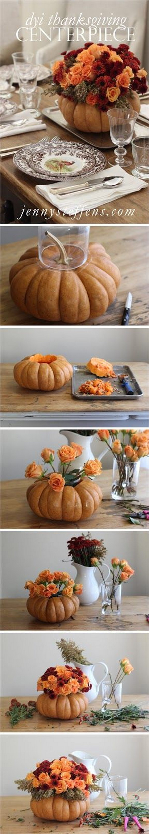 Rose and Mum Centerpiece in a Pumpkin