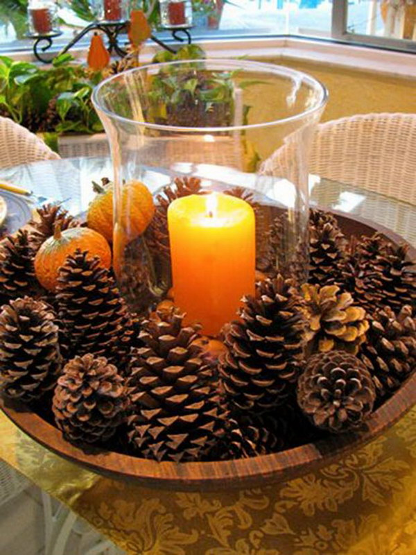 DIY Centerpiece with Pine Cones