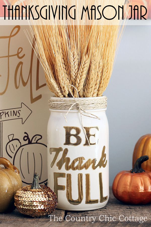 DIY Rustic Thanksgiving Mason Jar Decor