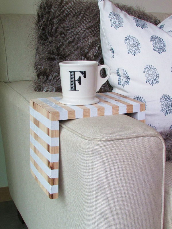 DIY Coffee Table Tray. This coffee table tray wraps the sofa arm and take up not even a fraction of your precious square footage.