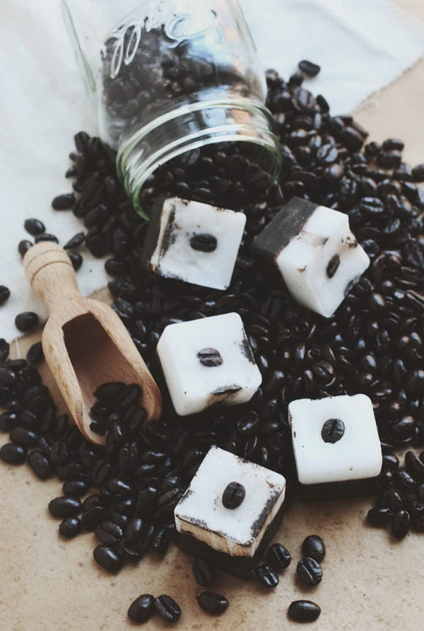 DIY Exfoliating Coffee Coconut Bars. Using this coffee coconut bar as a body and facial exfoliant would give your skin a good scrub and reduce the appearance of cellulite.