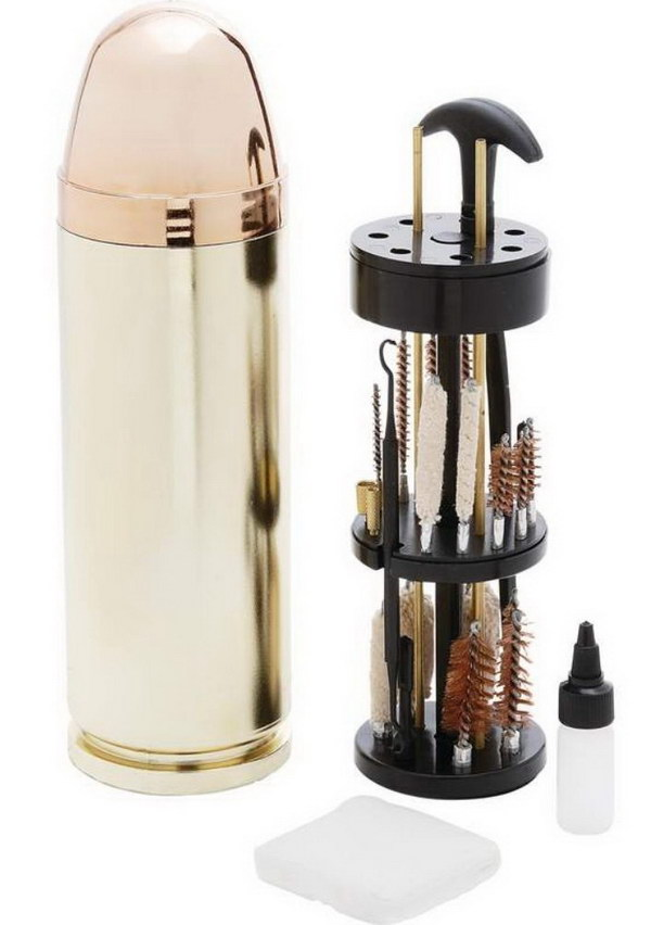 Bullet Shaped Gun Cleaning Kit. Nice cleaning kit all in one. It would be a good gift for your boyfriend if he is a gun enthusiast.