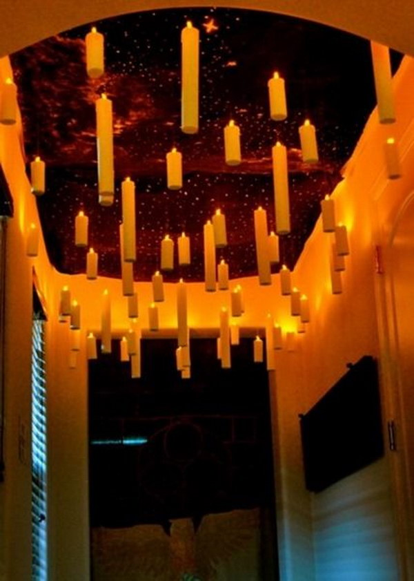 DIY Harry Potter Floating Candles. Awesome tutorial on how to DIY this enchanted ceiling with floating candles!