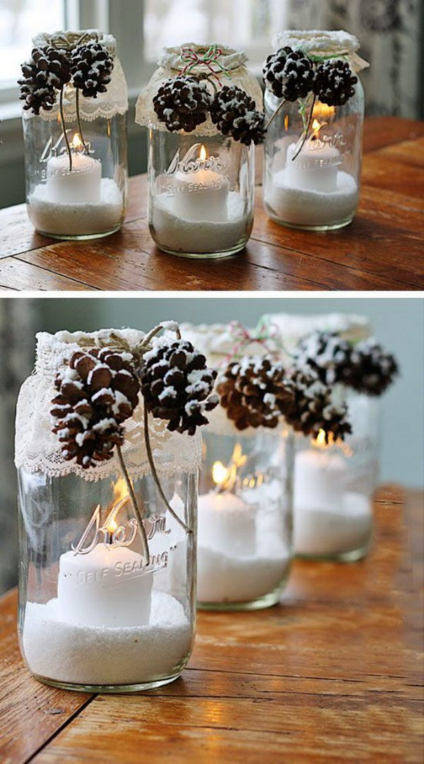 Snowy Pinecone Mason Jar Luminary