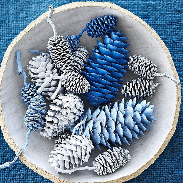 Blue and Silver Pinecones