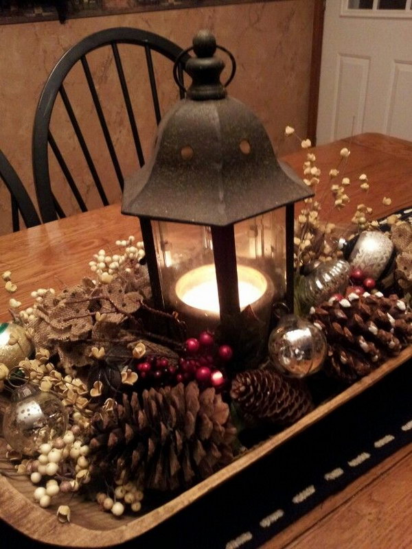 Christmas Table Centerpiece with Pinecones and Mercury Glass Balls