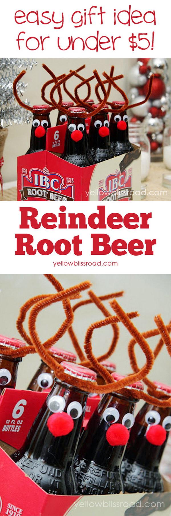 Root Beer Reindeer Handmade Christmas Gift.