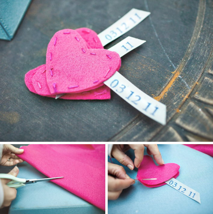 Easy to Make Heart Shape Felt Save the Date Magnets