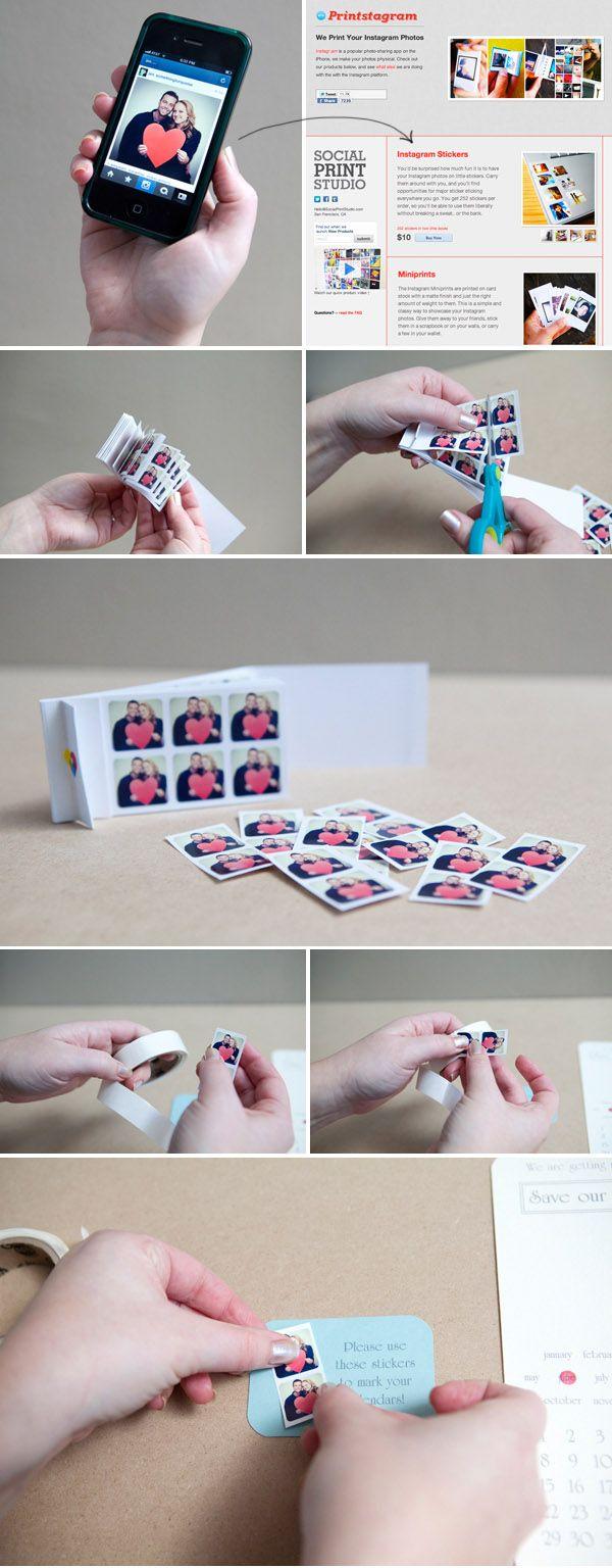 DIY Save the Date Instagram Calendar Stickers