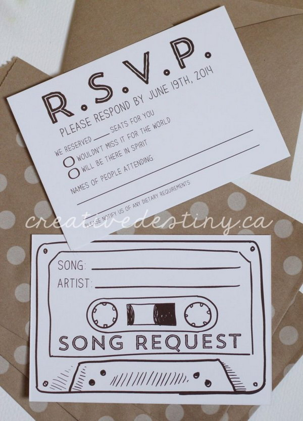 Cassette Tape Song Request Wedding RSVP Card