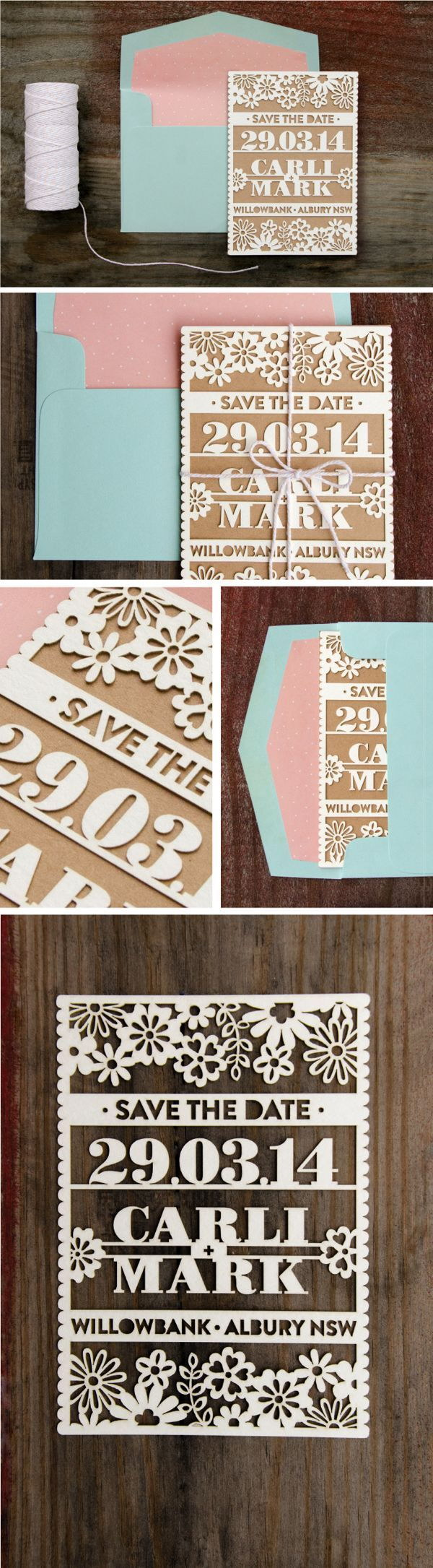 Elegant Laser Cut Save the Date Board