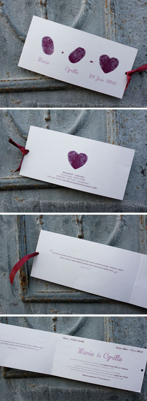 Finger Print Heart Save the Date Card