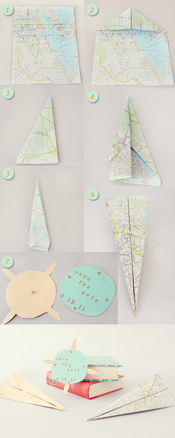 DIY Save the Date Paper Airplane Maps