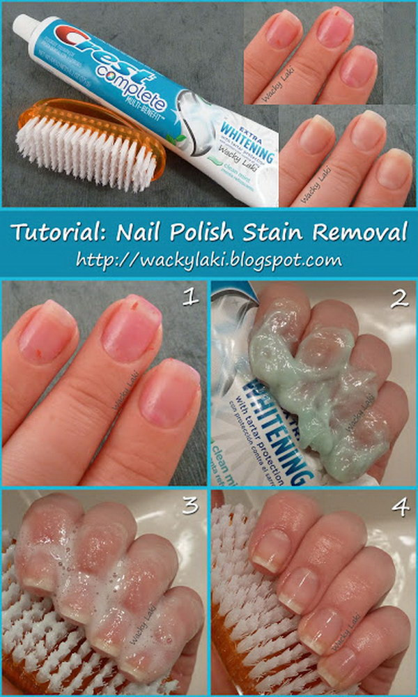 Toothpaste Nail Polish Stain Removal. If your nails are discolored, use toothpaste to get them stainless.