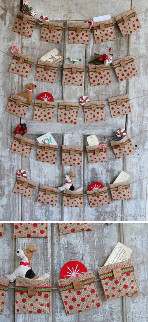Easy No Sew Burlap Advent Calendar.